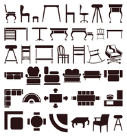 Furniture icons. Icons of furniture of brown colour. A vector illustration
