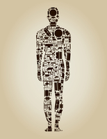 The person made of furniture. A vector illustration