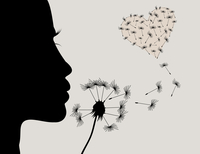 The girl blows on a flower a dandelion. A vector illustration