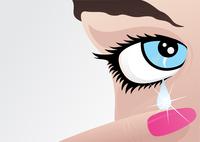 Girl cries. From an eye of the girl tear flows. A vector illustration