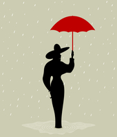 The girl with a red umbrella. A vector illustration
