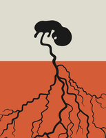 The child grows from a root. A vector illustration