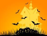 Halloween5. Bats fly over the house. A vector illustration 60016022530| 写真素材・ストックフォト・画像・イラスト素材|アマナイメージズ
