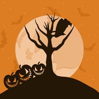 Halloween7. The raven sits on a tree branch. A vector illustration 60016022532| 写真素材・ストックフォト・画像・イラスト素材|アマナイメージズ