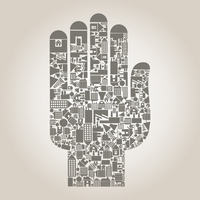 Hand from houses and buildings. A vector illustration 60016022580| 写真素材・ストックフォト・画像・イラスト素材|アマナイメージズ