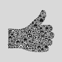 Hand from houses and buildings. A vector illustration 60016022581| 写真素材・ストックフォト・画像・イラスト素材|アマナイメージズ