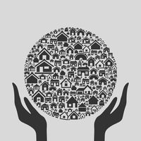 Hands hold a sphere from houses. A vector illustration 60016022582| 写真素材・ストックフォト・画像・イラスト素材|アマナイメージズ