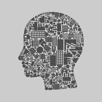 Head made of houses. A vector illustration 60016022633| 写真素材・ストックフォト・画像・イラスト素材|アマナイメージズ