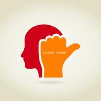Hand in a head. A vector illustration 60016022638| 写真素材・ストックフォト・画像・イラスト素材|アマナイメージズ