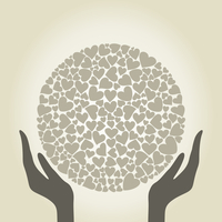 Hands hold a sphere from hearts. A vector illustration