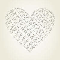 Heart made of a word love. A vector illustration