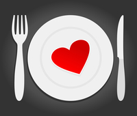 Heart on a plate. Red heart lays on a plate. A vector illustration