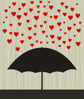 Heart rain. On an umbrella a rain from red hearts. A vector illustration