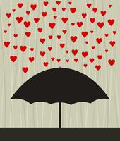 Heart rain. On an umbrella a rain from red hearts. A vector illustration