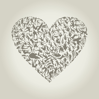 Heart made of sportsmen. A vector illustration