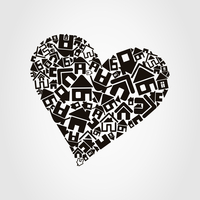 Heart made of houses. A vector illustration 60016022698| 写真素材・ストックフォト・画像・イラスト素材|アマナイメージズ