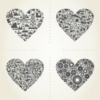 Heart from industry subjects. A vector illustration