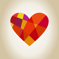 Scrappy heart from geometrical objects. A vector illustration
