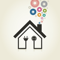Sign the house on an electricity. A vector illustration 60016022719  写真素材・ストックフォト・画像・イラスト素材 アマナイメージズ