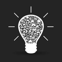 Bulb made of houses. A vector illustration 60016022734| 写真素材・ストックフォト・画像・イラスト素材|アマナイメージズ