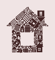 House from houses. The house made of other houses. A vector illustration 60016022742| 写真素材・ストックフォト・画像・イラスト素材|アマナイメージズ