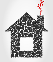 The house collected from hearts. A vector illustration 60016022764| 写真素材・ストックフォト・画像・イラスト素材|アマナイメージズ