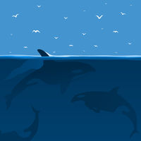 Whales hunt in the sea. A vector illustration