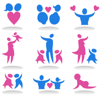 Icons a family. Collection of icons on a family theme. A vector illustration