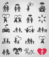 Collection of icons on a family theme. A vector illustration