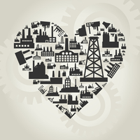 Heart made of factories. A vector illustration