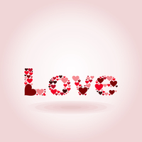 Inscription love on a pink background. A vector illustration
