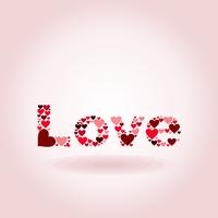 Inscription love on a pink background. A vector illustration