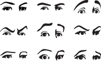 look. Different expression of an eye expressing emotions. A vector illustration