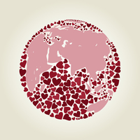 Planet made of hearts. Vector illustrations
