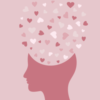 Heart symbol in a head. A vector illustration