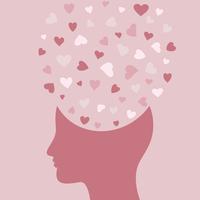 Heart symbol in a head. A vector illustration