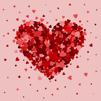 Heart collected from small hearts. A vector illustration