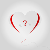 Question in heart. A vector illustration
