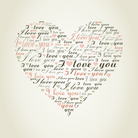 Heart made of words. A vector illustration