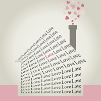 The house made of a word love. A vector illustration