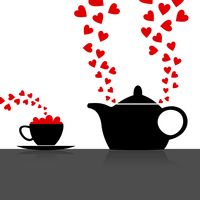 Love kitchen. Teapot with a love drink. A vector illustration