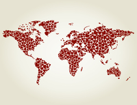 Map made of hearts. A vector illustration