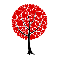 Love tree. Tree of love from red hearts. A vector illustration