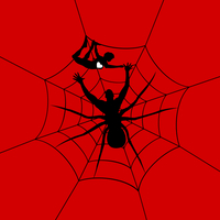 The man a spider has caught the girl. A vector illustration