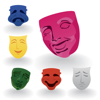 Mask4. Set of icons of masks of fun and grief. A vector illustration