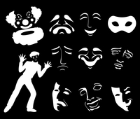 Mask6. Set of icons of masks of fun and grief. A vector illustration