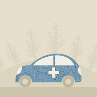 The medical aid car. A vector illustration