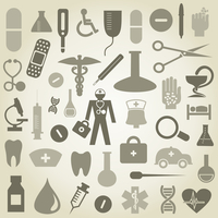 Set of icons on a theme medicine. A vector illustration
