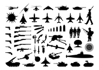 Military collection. Silhouettes of the various weapon and engineering. A vector illustration 60016023159| 写真素材・ストックフォト・画像・イラスト素材|アマナイメージズ