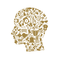 Head made of musical instruments. A vector illustration